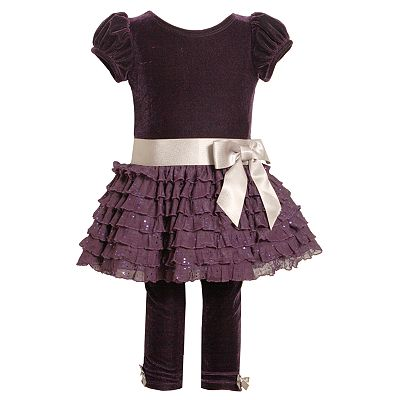 Bonnie Jean Velvet Ruffled Dress and Leggings Set - Baby