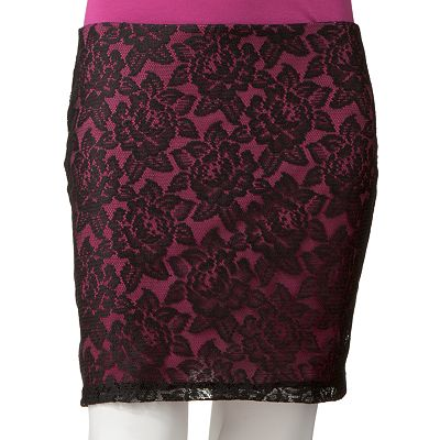 HeartSoul Floral Lace Body Con Skirt - Juniors