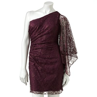 Hailey Logan Lace Batwing Asymmetrical Dress - Juniors