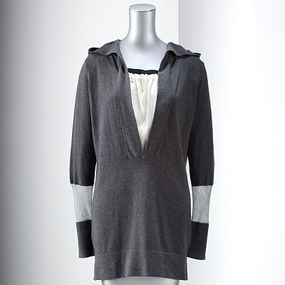 Simply Vera Vera Wang Mock-Layer Hooded Tunic