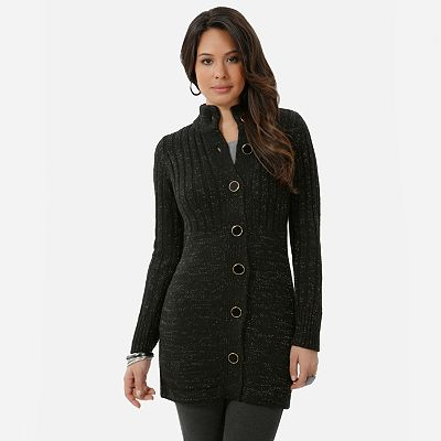 daisy fuentes Lurex Sweater Coat - Petite