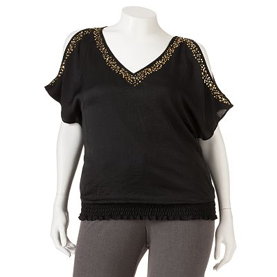 HeartSoul Beaded Cold-Shoulder Top - Juniors' Plus