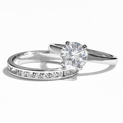 Silver Tone Simulated Crystal Solitaire and Eternity Ring Set