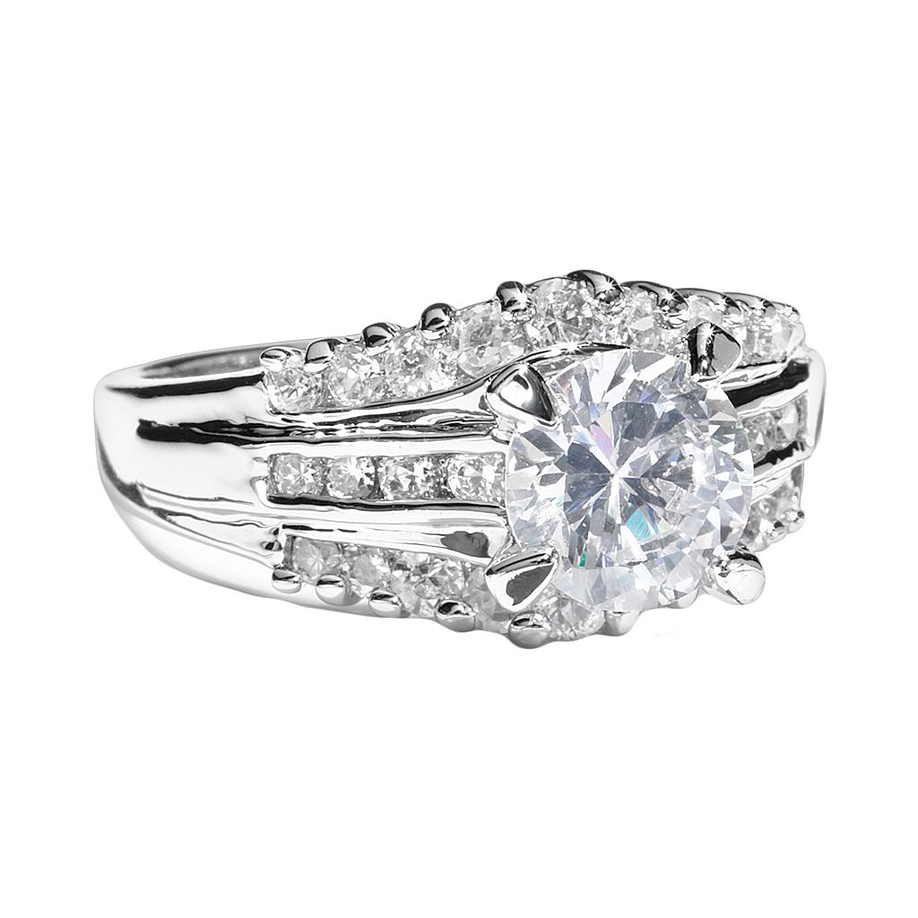 Silver Tone Simulated Crystal Multirow Ring