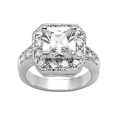 Silver Tone Simulated Crystal Textured Square Frame Ring