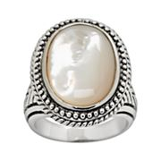 Silver Tone Mother-of-Pearl Ring