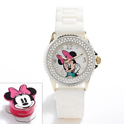 Disney Minnie Mouse Two Tone Simulated Crystal Watch - Kids