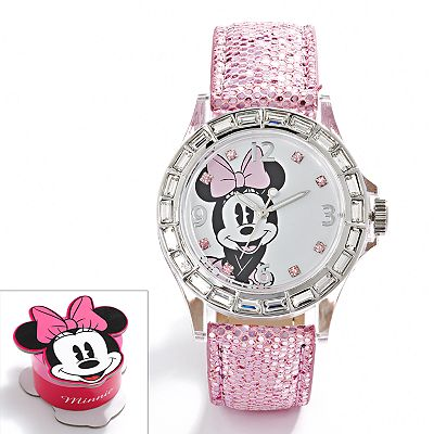 Disney Minnie Mouse Silver Tone Simulated Crystal Watch - Kids