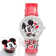 Disney Mickey Mouse Silver Tone Simulated Crystal Charm Watch - Kids
