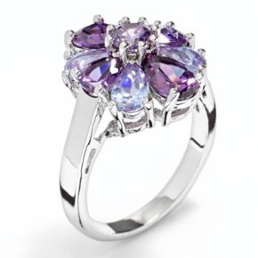 Silver Tone Simulated Crystal Flower Ring