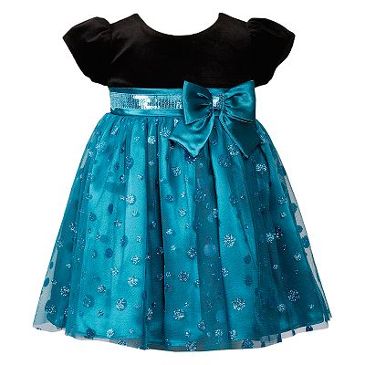 Youngland Sequined Satin Mesh Dress - Baby