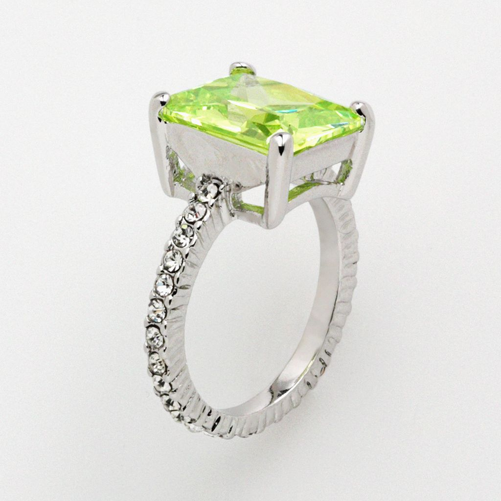 Silver Tone Simulated Peridot and Cubic Zirconia Ring