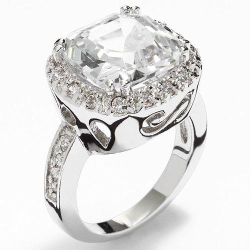 Silver Tone Simulated Crystal Cushion Frame Ring