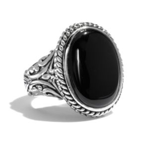 Silver Tone Oval Cabochon Ring
