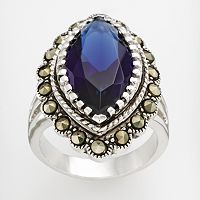 Silver Tone Marcasite & Simulated Sapphire Ring