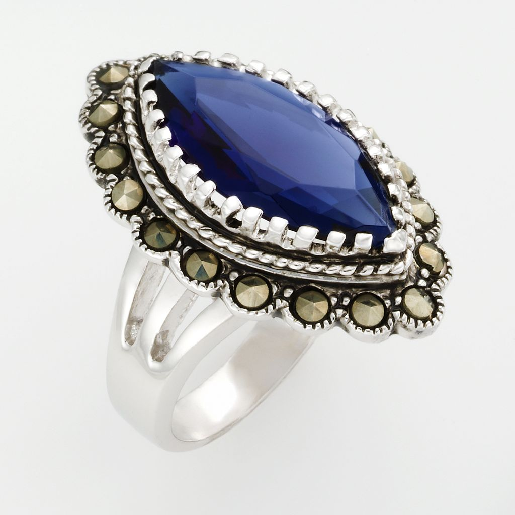 Silver Tone Marcasite and Simulated Sapphire Ring