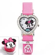 Disney Minnie Mouse Silver Tone Simulated Crystal Charm Watch - Kids