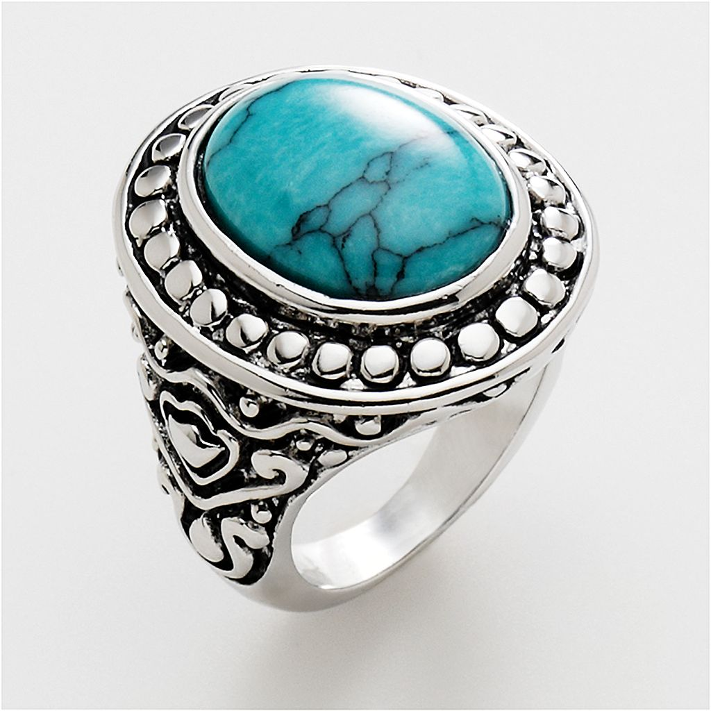 Silver Tone Simulated Turquoise Oval Cabochon Ring