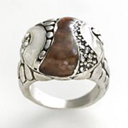 Silver Tone Simulated Crystal and Shell-Composite Pebble Ring