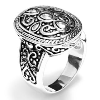 Silver Tone Textured Oval Ring
