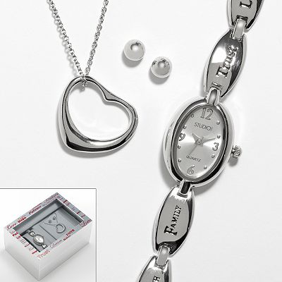 Studio Time Silver Tone Watch, Heart Pendant and Stud Earring Set - Women