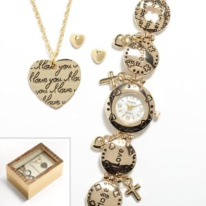 Studio Time Gold Tone Mother-of-Pearl Heart Charm Watch, Pendant and Stud Earring Set - Women