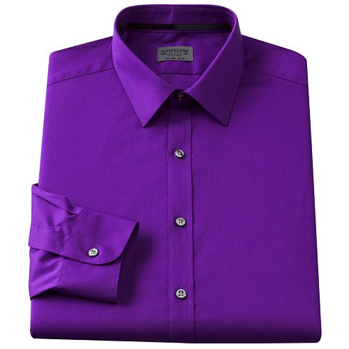 Arrow Slim-Fit Solid Point-Collar Dress Shirt