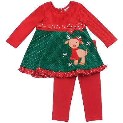 Rare Editions Reindeer Dress and Leggings Set - Baby