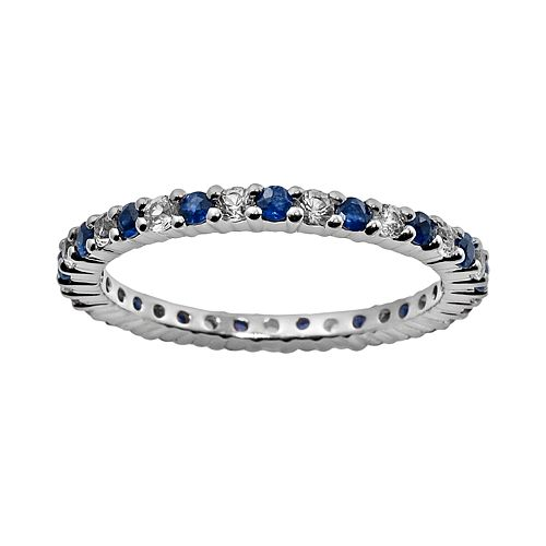 10k White Gold Blue & White Sapphire Eternity Wedding Ring