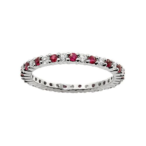 10k White Gold Ruby & White Sapphire Eternity Wedding Ring