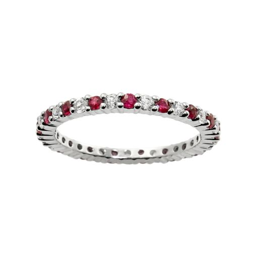 10k White Gold Ruby and White Sapphire Eternity Wedding Ring