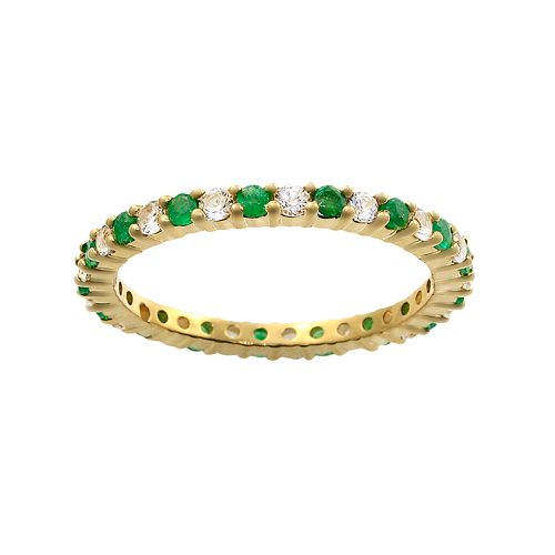 10k Gold Emerald & White Sapphire Eternity Wedding Ring