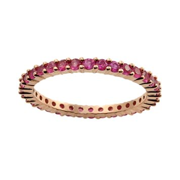 10k Rose Gold Pink Sapphire Eternity Wedding Ring