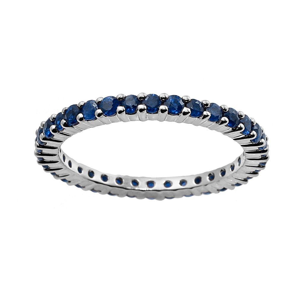 10k White Gold Blue Sapphire Eternity Wedding Ring