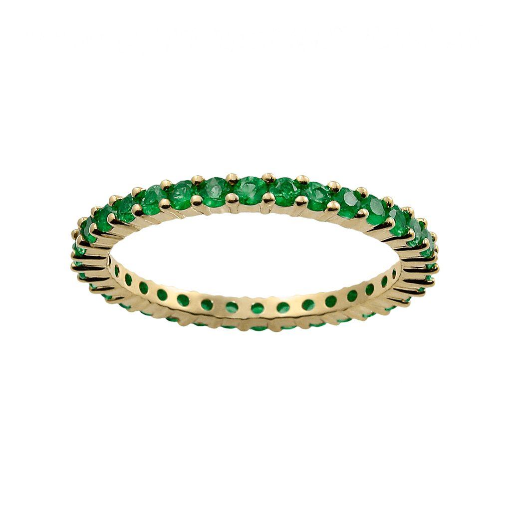 10k Gold Emerald Eternity Wedding Ring