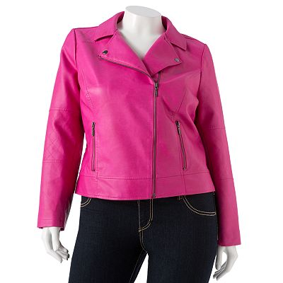 Candie's Faux-Leather Moto Jacket - Juniors' Plus