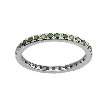 10k White Gold 1/2-ct. T.W. Green Diamond Eternity Wedding Ring