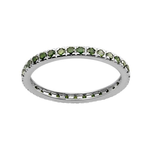 10k White Gold 1/2-ct. T.W. Green Diamond Eternity Wedding Ring