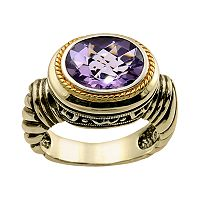14k Gold Over Silver Amethyst Frame Ring