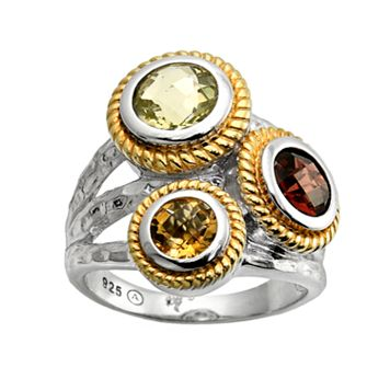 18k Gold Over Silver & Sterling Silver Gemstone Hammered Cluster Ring