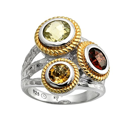 18k Gold Over Silver & Sterling Silver Gemstone Hammered Cluster Ring