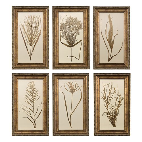 wheat grass framed wall art set