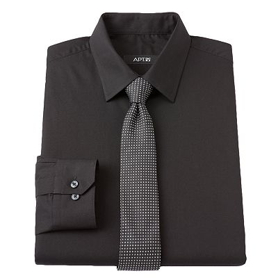 Apt. 9 Slim-Fit Spread-Collar Dress Shirt With Skinny Tie Boxed Set