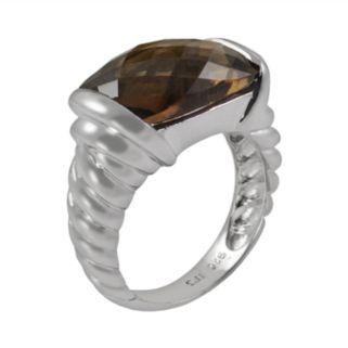 Sterling Silver Smoky Quartz Twist Ring