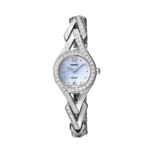 Seiko Silver Tone Crystal and Mother-of-Pearl Solar Watch - Made with Swarovski Elements - SUP173 - Women