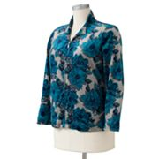 Croft and Barrow Floral Velour Jacket - Women's Plus