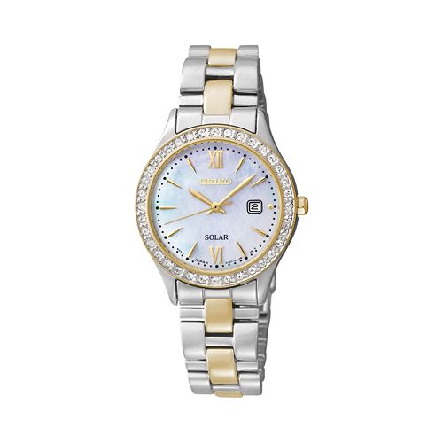 Seiko women 39 s two tone solar watch sut074 for Watches kohls