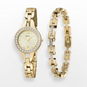 Seiko Gold Tone Crystal Watch and Bracelet Set - Made with Swarovski Elements - SUJG68 - Women