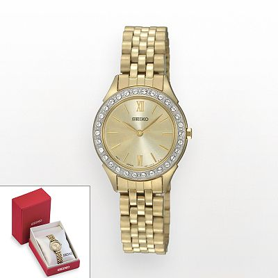 Seiko Gold Tone Crystal Watch - Made with Swarovski Elements - SXGP30 - Women