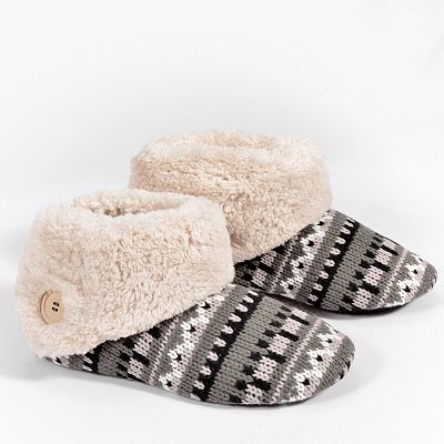 Dearfoams Faux-Fur Knit Bootie Slippers